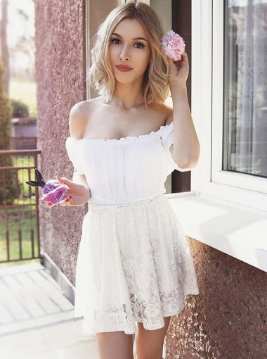 A-Line Off-the-Shoulder White Homecoming Party Dress with Lace