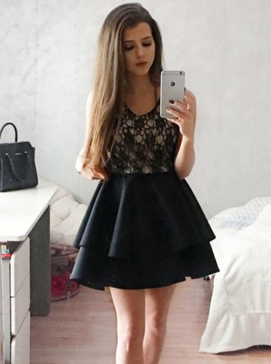 A-Line Scoop Tiered Black Homecoming Party Dress with Lace