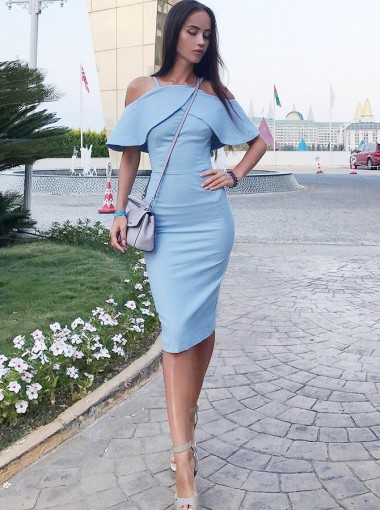 Sheath Cold Shoulder Knee Length Blue Satin Homecoming Party Dress