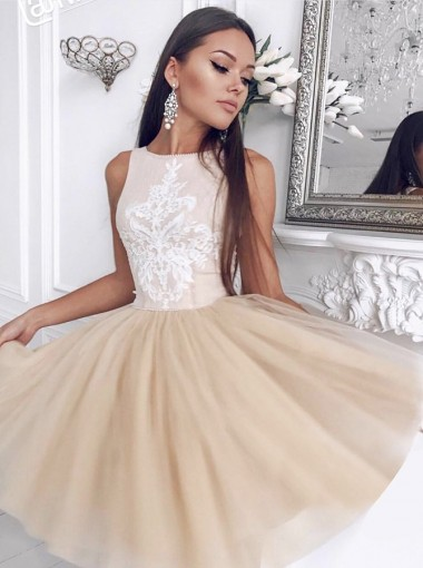 A-Line Bateau Champagne Homecoming Party Dress with Appliques