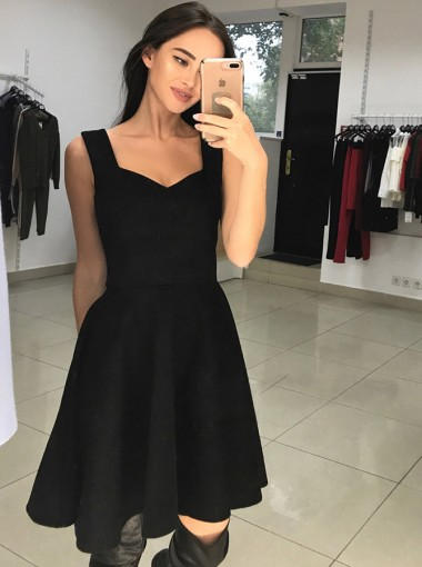 A-Line Square Neck Above Knee Black Satin Homecoming Party Dress