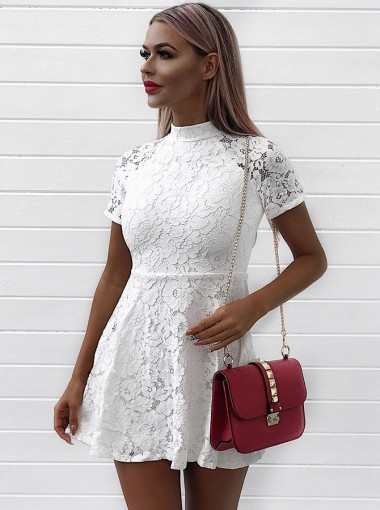 A-Line High Neck Short Sleeves White Lace Homecoming Party Dress