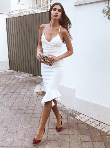 Bodycon Spaghetti Straps Knee Length White Satin Cocktail Dress