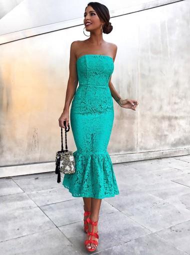 Elegant Mermaid Strapless Tea Length Hunter Lace Cocktail Party Dress
