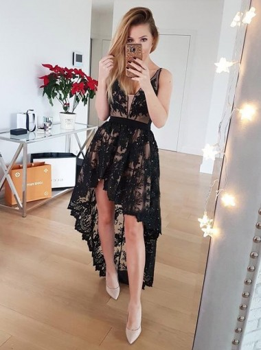 A-Line V-Neck Low-Cut High Low Black Lace Homecoming Dress with Beading