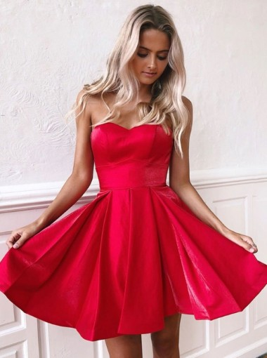 A-line Strapless Sleeveless Knee Length Red Satin Homecoming Party Dress
