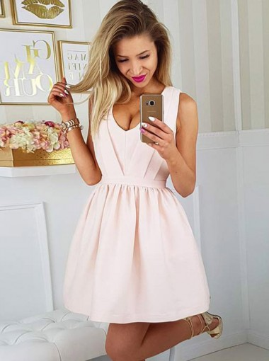 A-Line Scoop Open Back Short Pearl Pink Satin Homecoming Party Dress