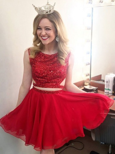 Two Piece Round Neck Red Chiffon Homecoming Dress with Sequins