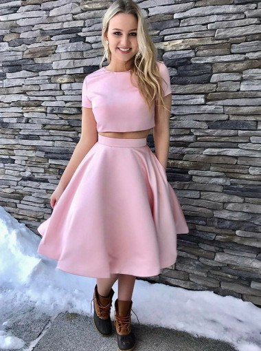 Two Piece Round Neck Pink Satin Homecoming Dress with Pockets