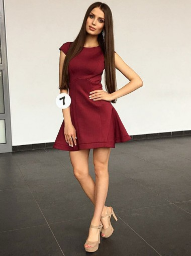 A-Line Round Neck Cap Sleeves Burgundy Satin Homecoming Dress