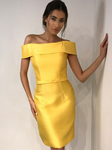Sheath Off-the-Shoulder Above Knee Yellow Satin Homecoming Dress