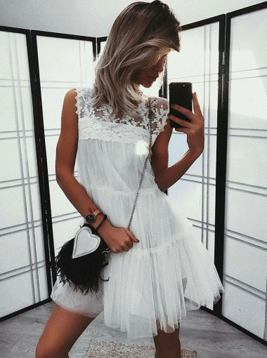 A-Line Round Neck Sleeveless White Tulle Homecoming Dress with Lace