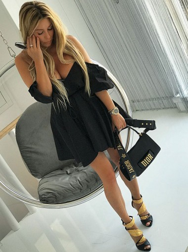 A-Line Off-the-Shoulder Black Satin Homecoming Party Dress
