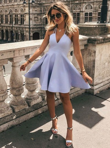 A-Line V-Neck Sleeveless Short Lavender Satin Homecoming Dress