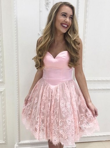 A-Line Sweetheart Glister Short Pink Lace Homecoming Dress