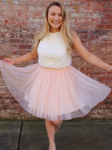 A-Line Round Neck Open Back Pink Tulle Homecoming Party Dress