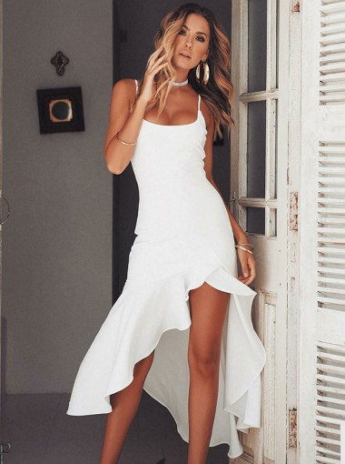 Sheath Spaghetti Straps White Chiffon Homecoming Prom Dress with Split