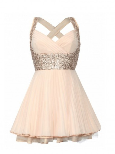 A-line Sweetheart Knee-length Sequin Chiffon Homecoming Dress CHHD-7228
