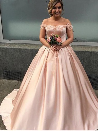 Ball Gown Off-the-Shoulder Pearl Pink Satin Appliques Quinceanera Dress