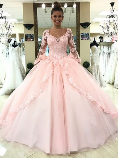 Ball Gown Scoop 3/4 Sleeves Pearl Pink Tulle Appliques Quinceanera Dress