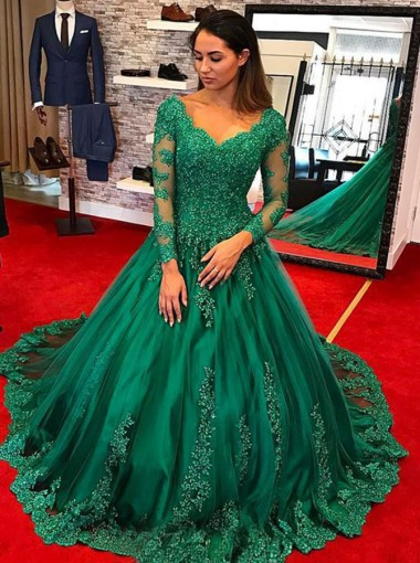 Ball Gown Scoop Long Sleeves Hunter Tulle Appliques Quinceanera Dress