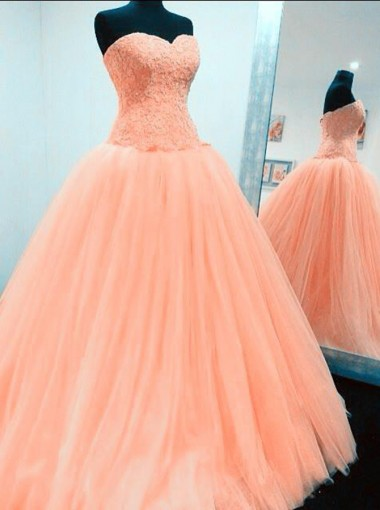 Ball Gown Sweetheart Floor-Length Peach Tulle Appliques Quinceanera Dress
