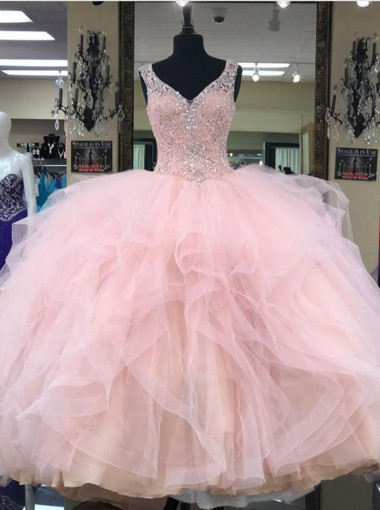 Ball Gown V-Neck Tiered Pink Tulle Quinceanera Dress with Beading