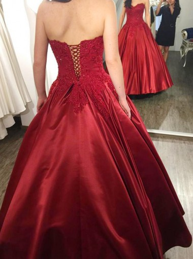 Ball Gown Sweetheart Dark Red Satin Appliques Quinceanera Dress