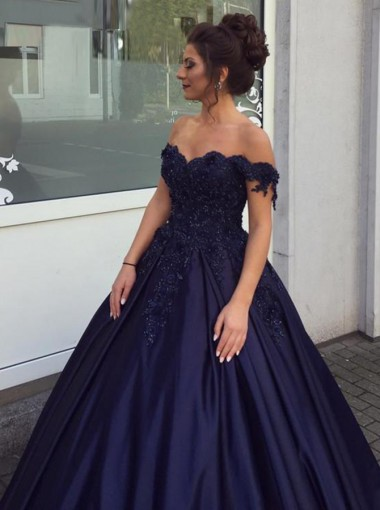 Ball Gown Off-the-Shoulder Dark Blue Satin Appliques Quinceanera Dress