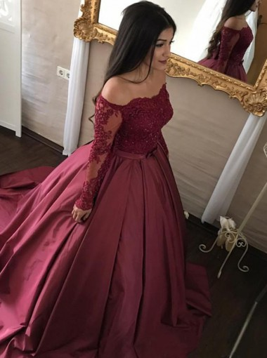 Ball Gown Off Shoulder Long Sleeves Maroon Satin Appliques Quinceanera Dress