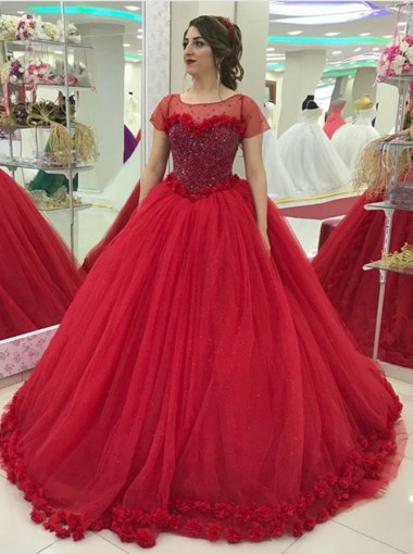 Ball Gown Bateau Red Tulle Quinceanera Dress with Sequins Flowers