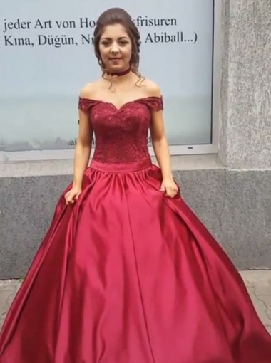 Ball Gown Off The Shoulder Dark Red Satin Quinceanera