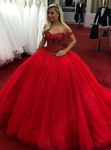 Ball Gown Off-the-Shoulder Red Tulle Quinceanera Dress with Rhinestones