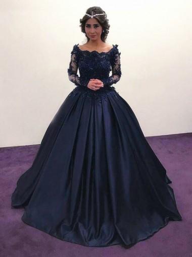 ball gown off shoulder dark blue satin quinceanera dress