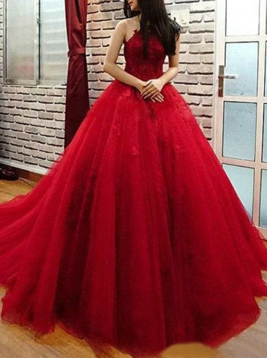 Ball Gown Halter Sweep Train Red Tulle Quinceanera Dress with Lace