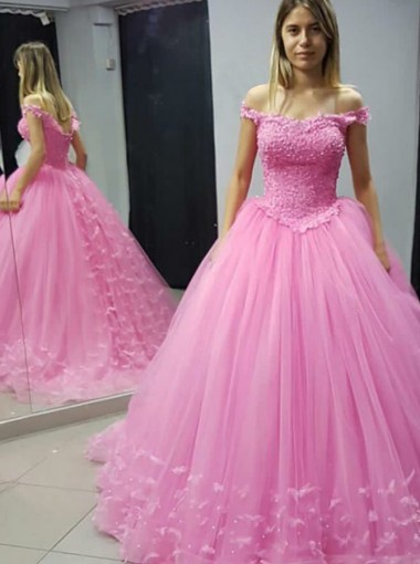 Ball Gown Off-the-Shoulder Lilac Tulle Appliques Quinceanera Dress with Flowers