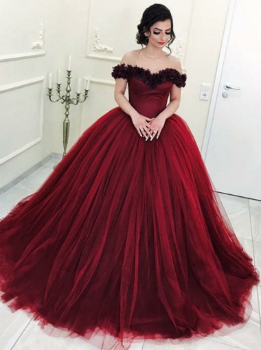 Ball Gown Off-the-Shoulder Burgundy Tulle Quinceanera Dress with Flowers