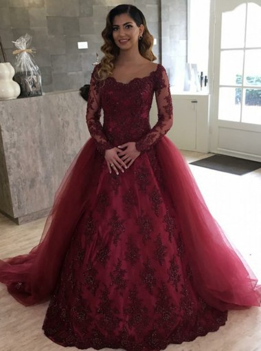 Ball Gown Illusion Bateau Burgundy Quinceanera Dress with Appliques Sleeves