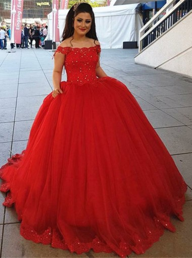 Ball Gown Strapless Red Tulle Appliques Quinceanera Dress with Sequins