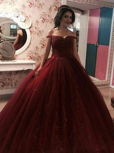 Ball Gown Off-the-Shoulder Burgundy Tulle Sequins Quinceanera Dress