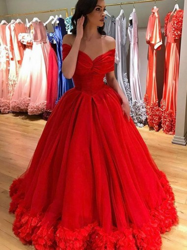 Ball Gown Off-the-Shoulder Red Tulle Quinceanera Dress with Flowers