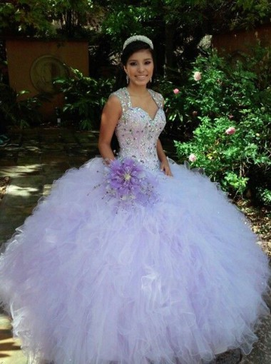 Ball Gown Scoop Lavender Tulle Quinceanera Dress Dropped with Beading