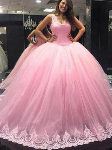 Ball Gown V-Neck Floor-Length Pink Tulle Quiceanera Dress with Lace Appliques