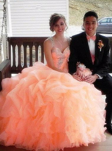 Ball Gown Straps Peach Organza Quinceanera Dress with Beading