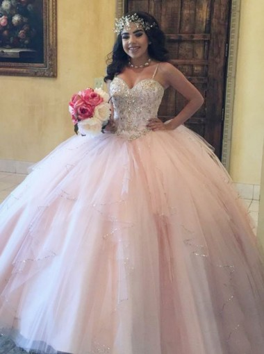 Ball Gown Spaghetti Straps Pearl Pink Tulle Quinceanera Dress with Beading