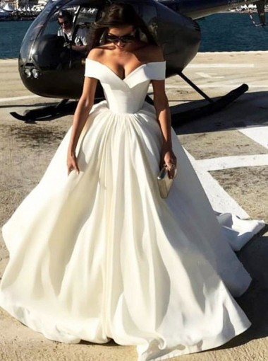 Ball Gown Off-the-Shoulder White Satin Quinceanera Prom Dress
