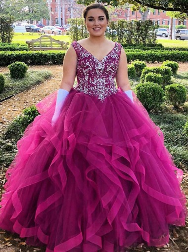 Ball Gown V-Neck Asymmetry Fuchsia Tulle Quinceanera Dress with Beading
