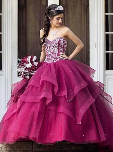 Ball Gown Sweetheart Tiered Fuchsia Tulle Quinceanera Dress with Beading