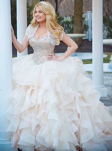 Ball Gown Scoop Asymmetric Light Champagne Quinceanera Dress with Beading