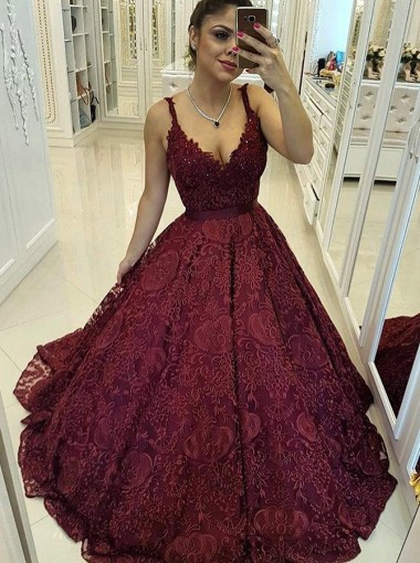 Ball Gown Scoop Dark Red Lace Quinceanera Dress with Beading
